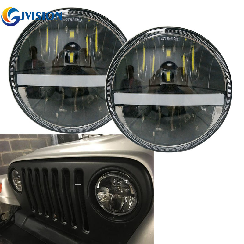 Black 7 Round H4 headlight High/Low Dual beam projector headlamp with White DRL Amber Turn signal lights for Jeep Wrangler JK