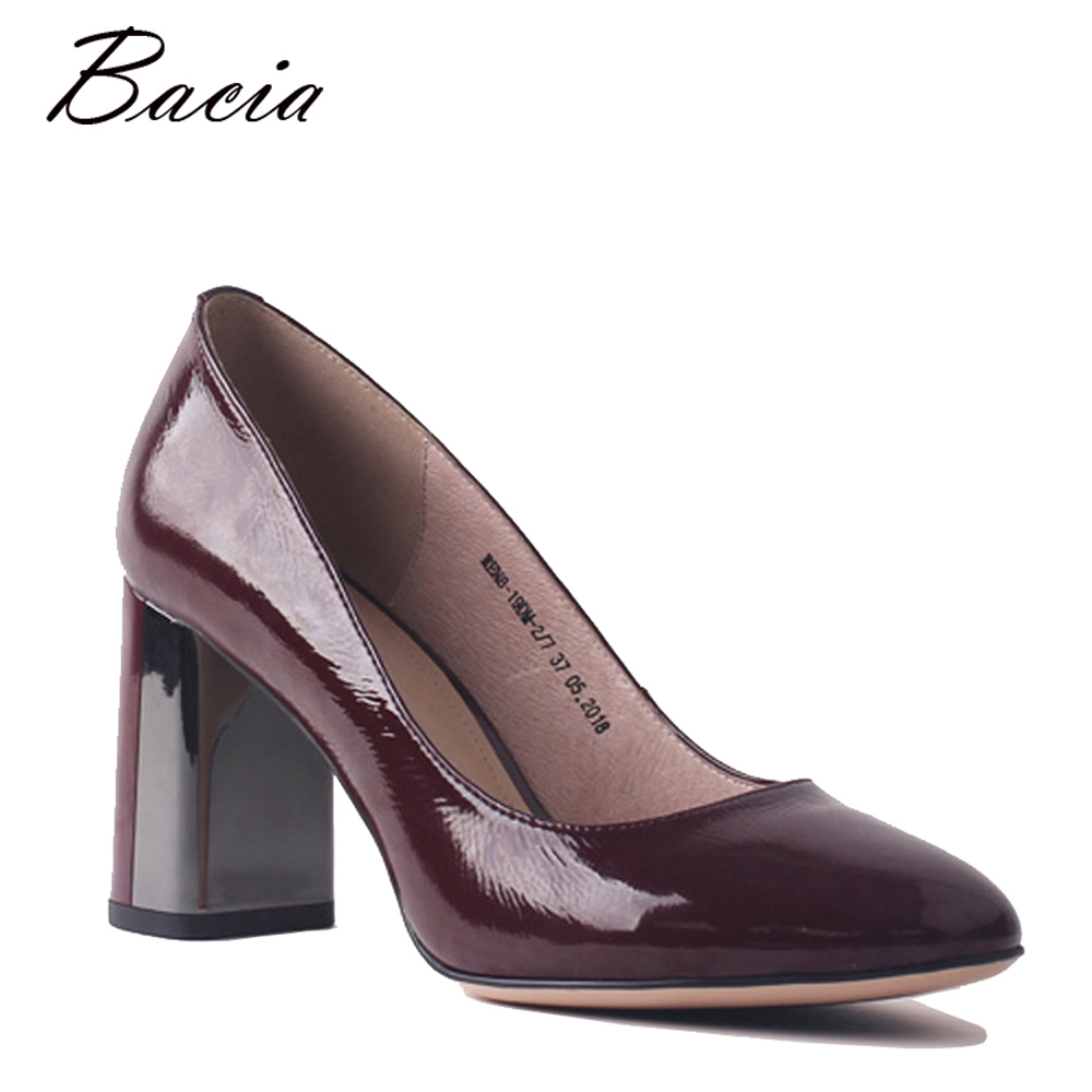 Bacia 100% Genuine Leather Pumps Wine Red Handmade Shoes Thick Heels Office Lady High Quality Cowhide Patent Leather Shoes SA087 bacia women shoes black patent leather ladies high heels shoes with bowknot thick heel pumps genuine leather lady shoes sb075