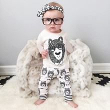 Autumn Long Sleeve Style Infant Clothes  Baby Clothing Sets Boys Cotton Little Monsters Short Sleeve 2pcs Baby Boy Clothes V20
