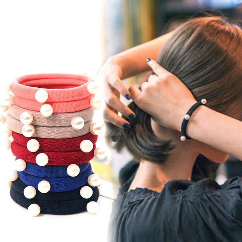 Girls' Clothing Women Elastic Hair Bands Pearl Girls Sweet Hairband Ponytail Holder Band Rope Children Red Fashion 2018 New Hot Sale Hair Ring Hair Accessories