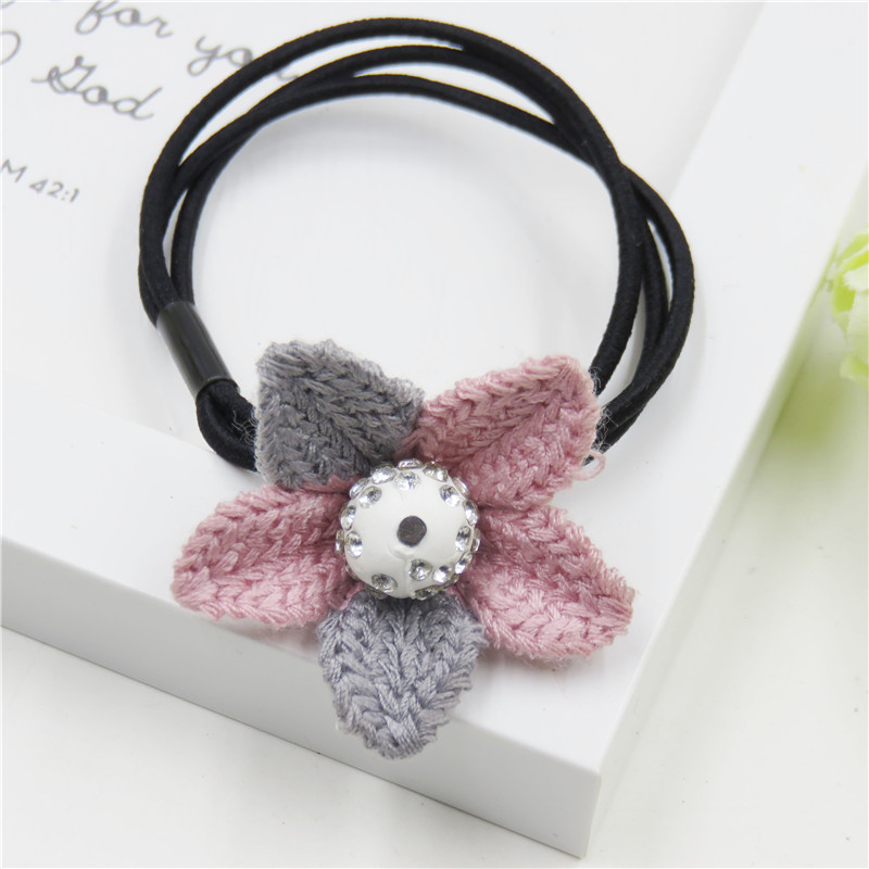 1PCS Novelty Double Color Flower Elastic Hair Bands Toys For Girl Handmade Bow Headband Scrunchy Kids Hair Accessories For Women 2015 fashion elastic hair bands for women candy color baby girl kids headbands hair ropes headwear hair accessories 20 colors
