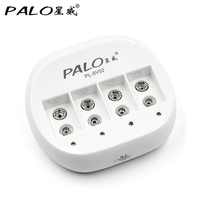 PALO 4 Slots 9 v 6f22 Rechargeable Battery Charger Mini Dual Toy Battery Charger for 6F22 9V Lithium li-ion Li-ion Battery liitokala 2pcs li ion 18650 3 7v 2600mah batteries rechargeable battery with portable battery box and 2 slots usb smart charger