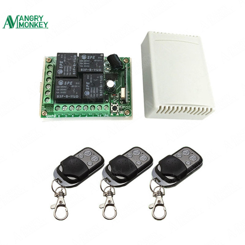433Mhz Universal Wireless Remote Control Switch DC12V 4CH relay Receiver Module and 3pcs 4 channel RF Remote 433 Mhz Transmitter