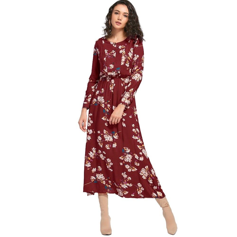 a1f3e979e502 Wipalo Autumn Floral Print Long Dress Women Bohemian Long Sleeve ...