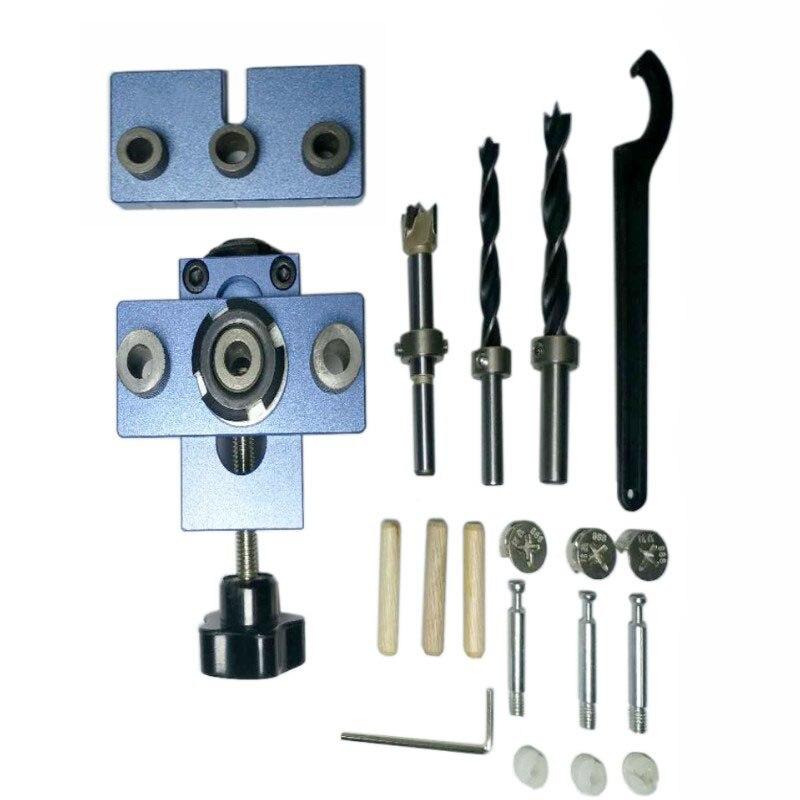 8 10 15mm Hole Puncher Locator Jig Drill Bit Set Wood Splicing combination Dowel Hole Drilling