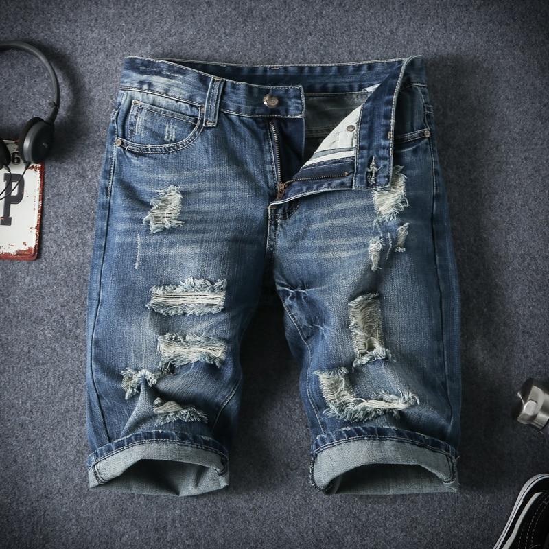 Mens Denim Shorts 2017 New Summer Regular Casual Knee Length Short Bermuda Masculina Hole Jeans Shorts
