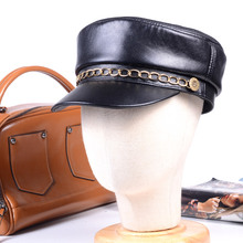 Womens Mens Big Lip Cap Real leather Black Silver Chains Military Newsboy Army Flat Hats/Caps