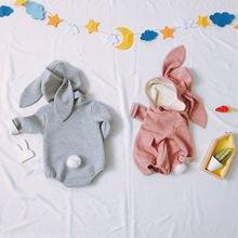 c39aa8f87be Großhandel Baby Kleidung Solide Langarm Mit Kapuze Bunny Schwanz Baby Body  mit Känguru Tasche Ostern Kaninchen Ohr outfit