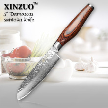 XINZUO 5″ santoku knife  73 layers Damascus kitchen knife japanese VG10 chef knife with Color wood handle free shipping