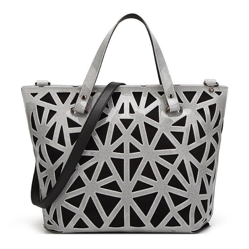 Gastfreundlich 2019 Frühling Luxus Handtaschen Frauen Taschen Designer Blingbling Geometrische Aushöhlen Schulter Tasche Laser Einfachen Klapp Tote Hologramm 100% Garantie