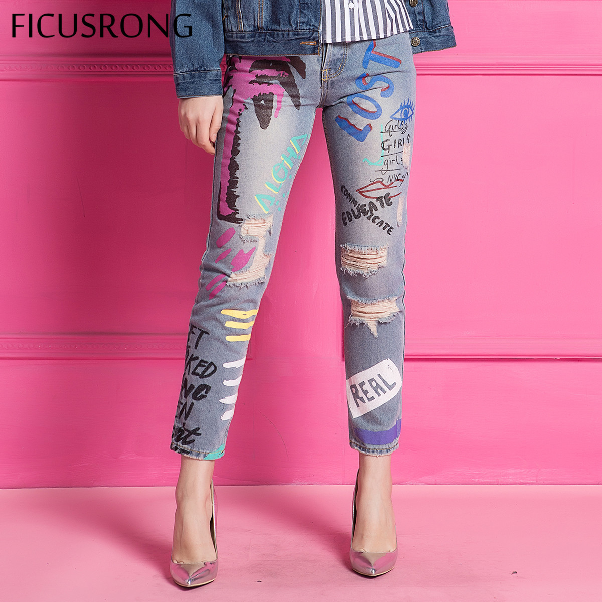 FICUSRONG 2018 New Graffiti Hole ripped   jeans   women harem pant loose ankle-length pants Boyfriends For woman Ladies skinny   jeans