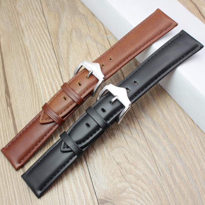 High Quality Genuine Leather Watch Band Strap Black Brown 18mm 19mm 20mm 21mm 22mm 24mm Watchbands With Satainless Steel Buckles русалочка