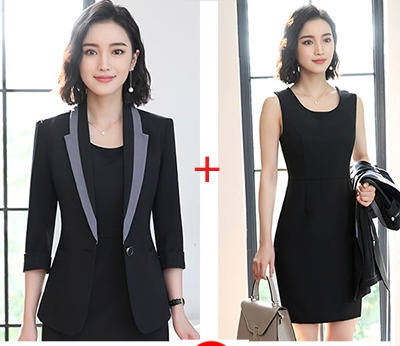Hot Ladies Dress Suit for Work Full Sleeve Blazer Sleeveless Dress 2 Pieces Set 2