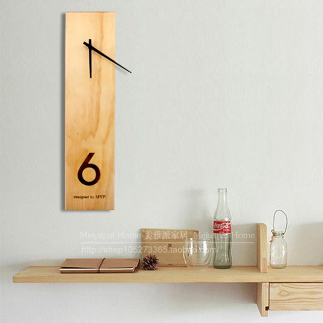 PINJEAS Wall Clock Wood Simple Style Natural Rectangle Wooden Wall Clock Large Living Room Digital Clock Decor