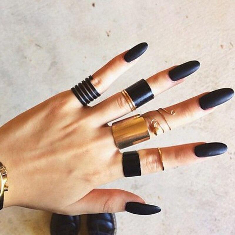 Docona אופנה שחור פתיחת טבעת 3 יח'\סט Midi אצבע Knuckle טבעת סט לנשים פאנק סגסוגת אצבע טבעות תכשיטי Boho
