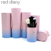 Portable Travel Makeup Brush Round Pen Holder Organizer PU Leather Cosmetic Brushes Cup Container Case Makeup