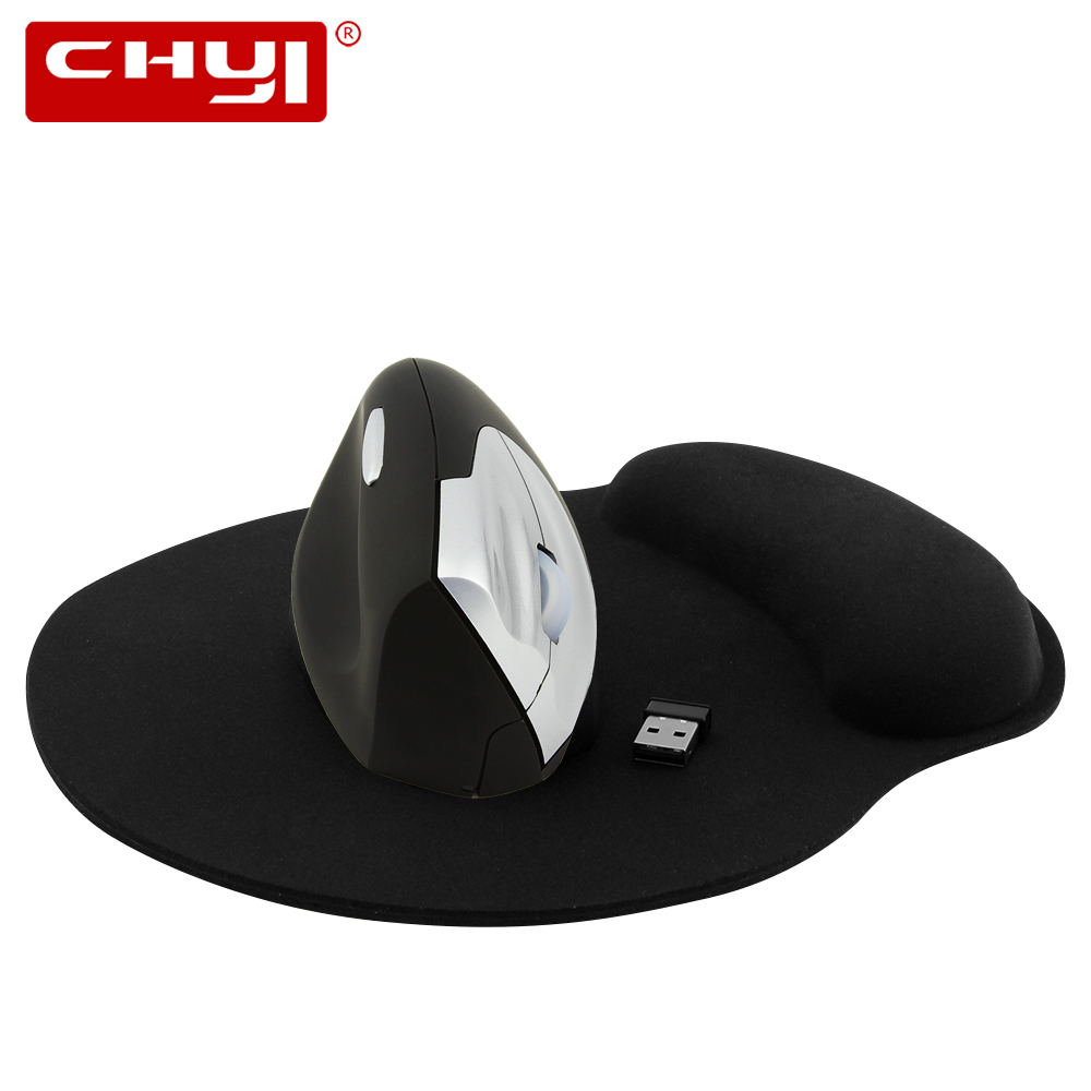 CHYI Wireless Left Hand Mouse 1600DPI Optical Ergonomic Vertical Mice Computer Gaming Mause With Mouse Pad for PC Laptop Gamer