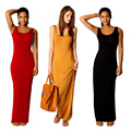 Flexiable High Quality Women Long Dress Ankle-length European Sexy Slim Sleeveless Casual Dresses Tank Dresses  Shealth Cotton