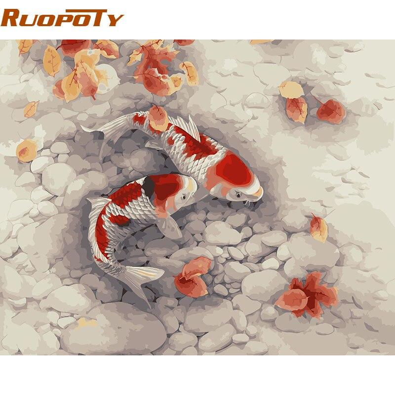 RUOPOTY Goldfisch DIY Malerei Durch Zahlen Dekoration Acryl Bild Farbe  Durch Zahlen Für Wohnzimmer Wand Kunstwerk 40x50 Cm