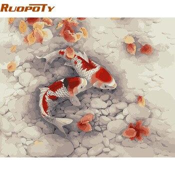 RUOPOTY poisson rouge peinture à la main par numéros décoration de la maison acrylique photo peinture par numéros pour salon mur œuvre 40x50cm