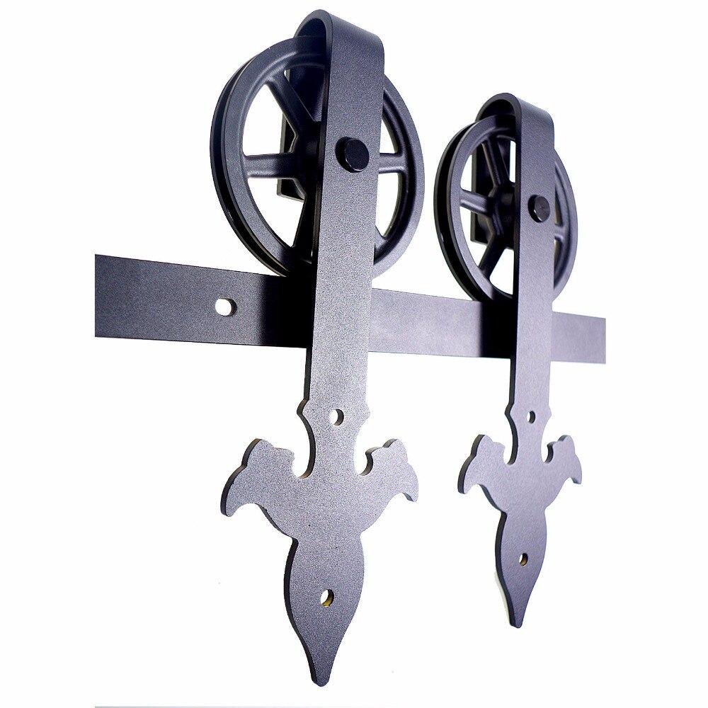 LWZH 4FT/5FT/6FT/6.6FT/9FT Classical Style Sliding Wood Barn Door Hardware Kit Flower Arrow-Shap with Big Roller for Single Door