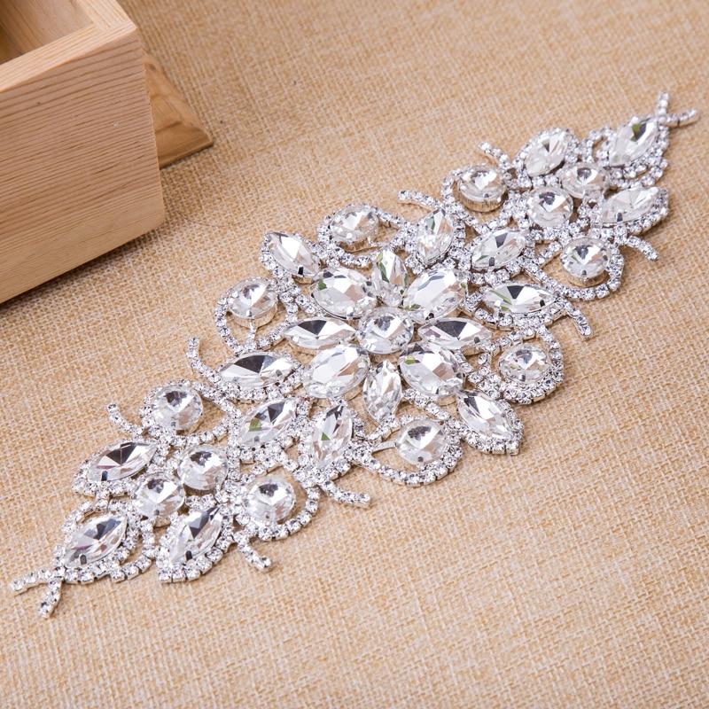 1 stücke Blume Strassapplikationen Brautkleid Gürtel Silber Basis - Kunst, Handwerk und Nähen - Foto 1