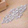 1pcs Flower Rhinestone Applique Bridal Wedding Dress Belt Silver Base Crystal Shine Rhinestone Belt Sew on Strass Shoes Bags