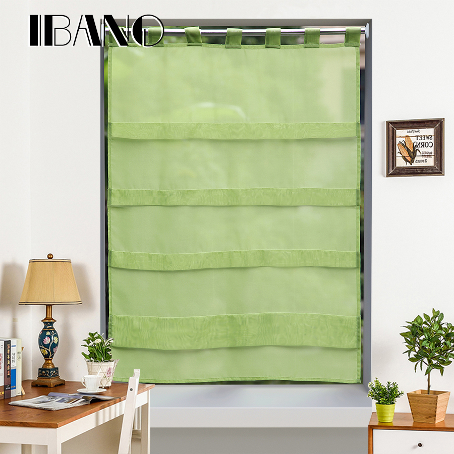 Roman Curtains Shade Solid Colors Korea Style Tie Up Window Curtain Kitchen Voile Sheer Cortinas