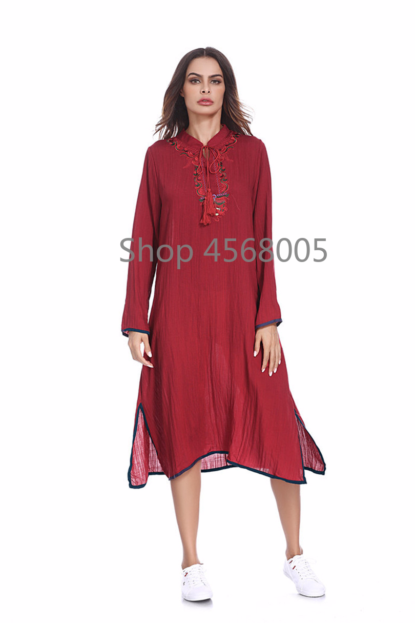 18b48d61af50c Arab Middle East Women Wear Tie Maxi Long Sleeve Dress Abaya Embroidery  Muslim Long Robe Loose Moroccan Islamic Clothing Dress