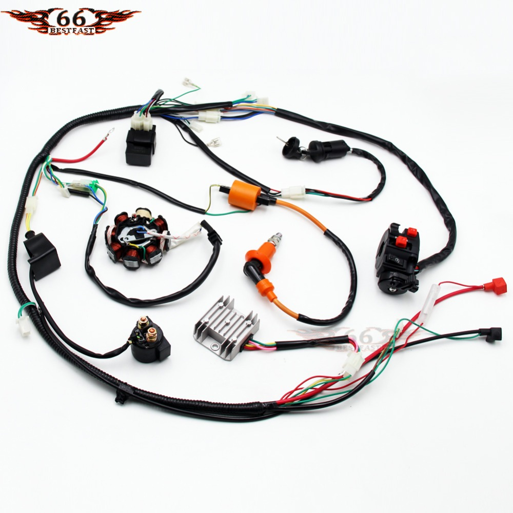 full electrics stator performance coil cdi ignition switch wire wiring harness assembly gy6 150cc 250cc atv quad buggy [ 1000 x 1000 Pixel ]