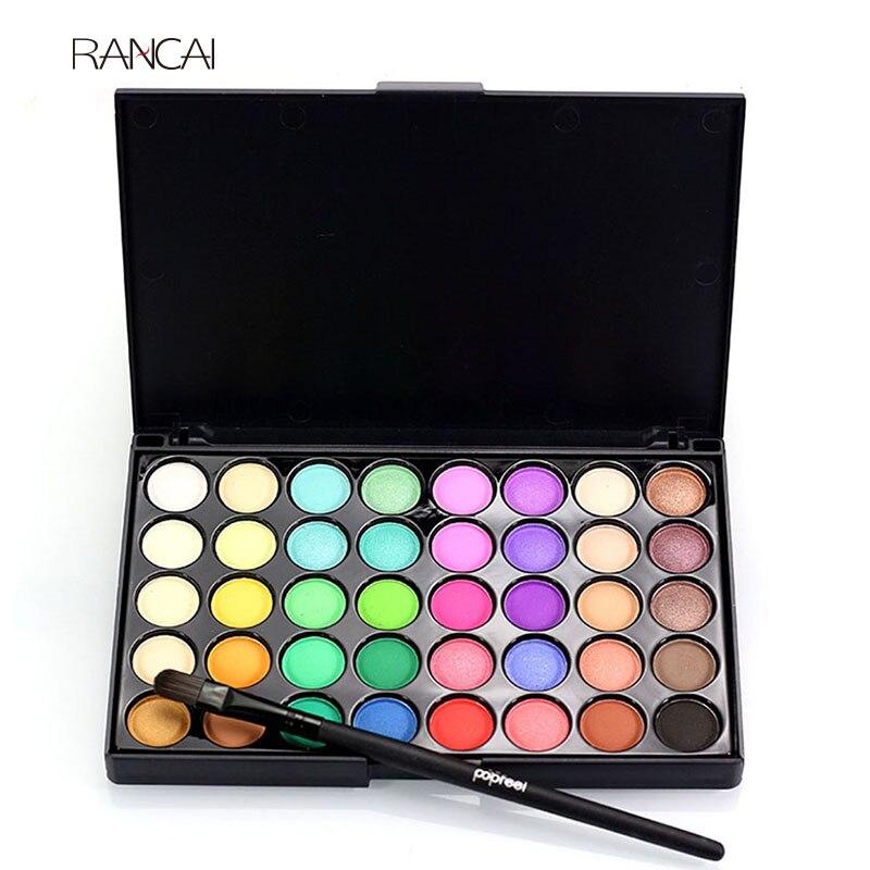 RANCAI 1pcs Eyes Brush Eye Shadow Makeup Brushes + 40 Colors Eyeshadow Palette Natural Face Matte Camouflage Cosmetic Kit makeup brush cleaning palette 2pcs