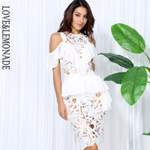 Love&Lemonade White Hollow Lace Chiffon Lotus Leaf Party Dress LM0041(China)
