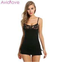 Купить с кэшбэком Avidlove Women Sexy Lingeries Cotton Stretch Bodycon Mini Dress Pajama Sleepwear Sexy Underwear Babydoll + G-string Plus Size U2