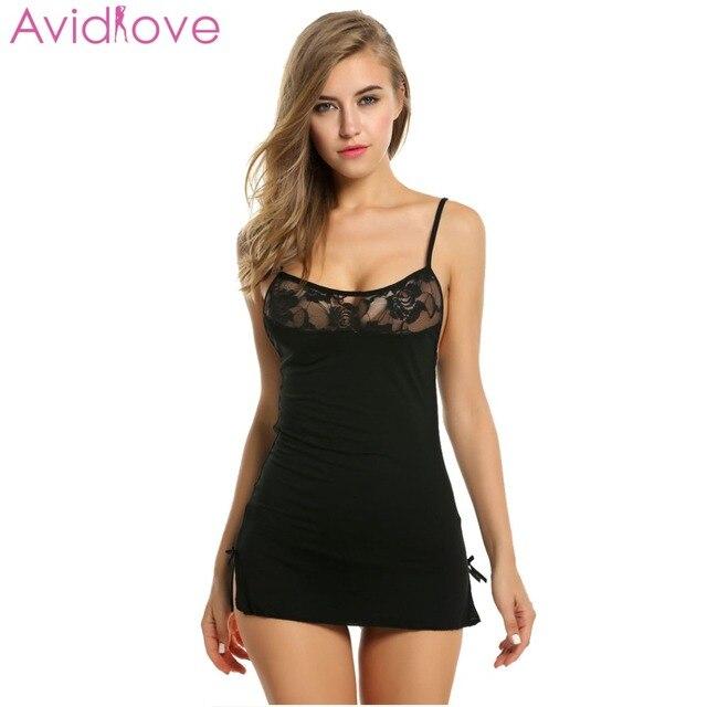 1991d5e539923 Avidlove Women Sexy Lace Nightgown Cotton Nightdress Stretch Mini Dress  Sleepwear Sexy Lingerie Plus Size Nightwear For Women