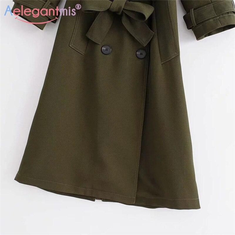 Affaires Collar Green Office Longue Ceinture Femmes Aelegantmis down Manteau Outwear Tranchée Mode Turn Hiver Army Automne De Qualité Haute Lady fHwnqP6