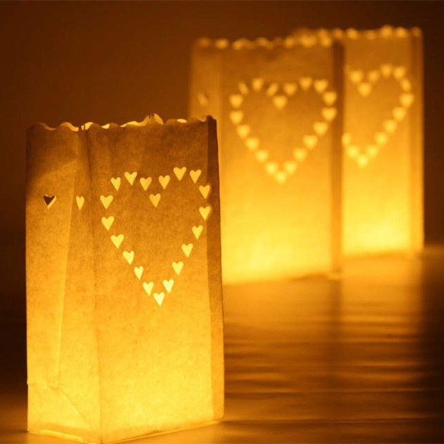 Paper Candle Bag Luminary Bags Fireproof Lantern Wedding Birthday Party Decoration Heart Shaped 1000pcs