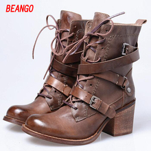 BEANGO Round Toe Winter Boots font b Women b font Cross Tied Belt Buckled Square Heels