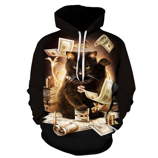 e4a6cfaed8dd Cute Cat 3D Hoodies Galaxy cat and money Prints Hooded Sweatshirt Cool Wolf  Lions Tiger Hoodie Pullovers Drop Ship