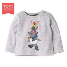 New 2018 Boy Clothes Anime Pattern Children T Shirts Cotton Sweatshirt Kids Long Sleeve Girl T-shirt Autumn Spring Top Tees(China)