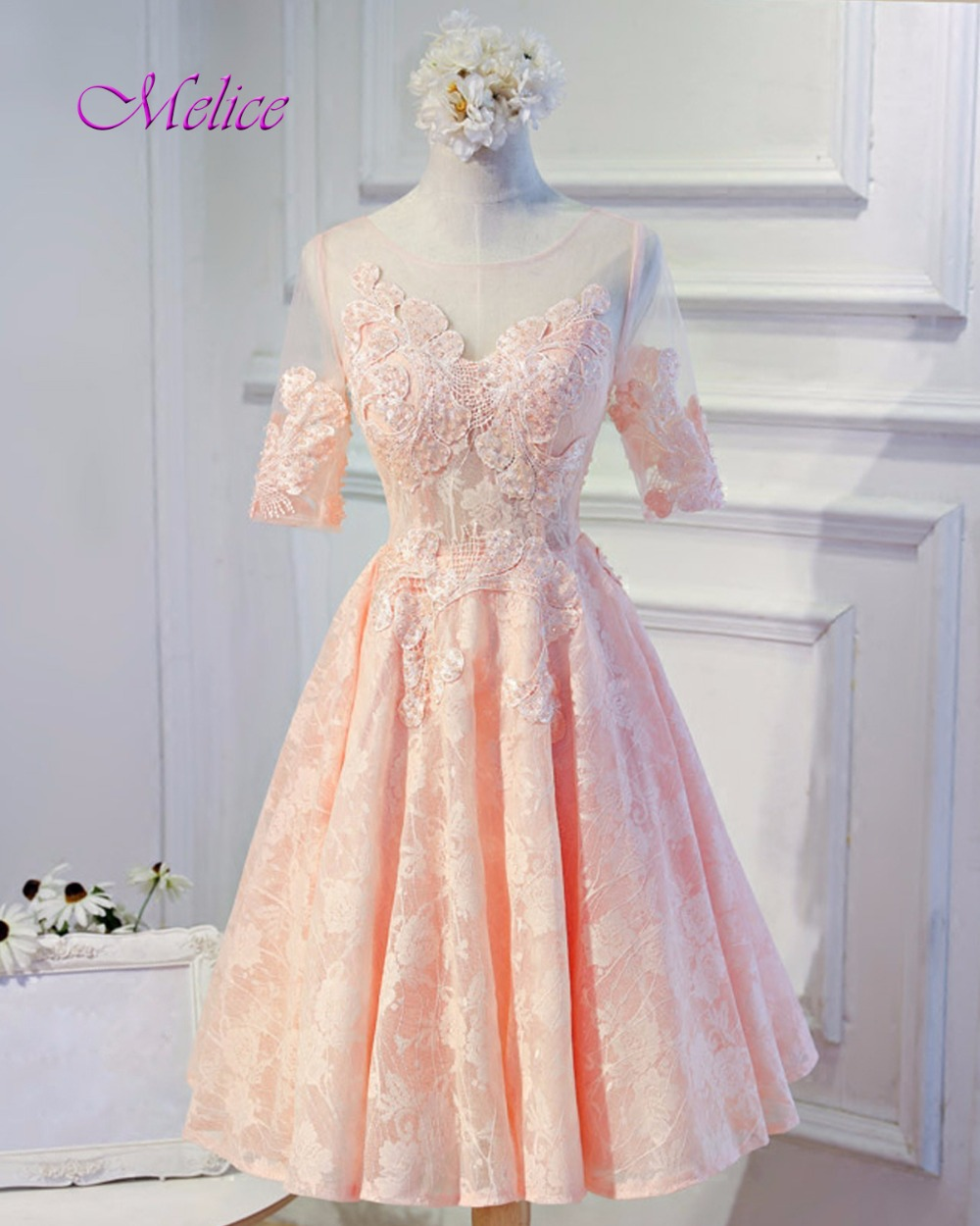 Melice New Fashion O neck Half Sleeve Pink Princess Lace Prom Dress 2019  Graceful Appliques Formal Party Gown Vestido de Festa-in Prom Dresses from  Weddings ... ed2f1e1579a1