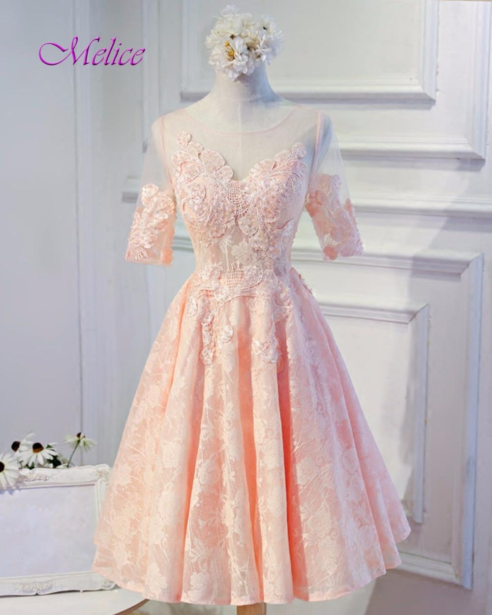 Melice New Fashion O-neck Half Sleeve Pink Princess Lace   Prom     Dress   2019 Graceful Appliques Formal Party Gown Vestido de Festa