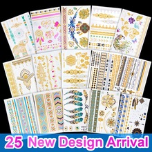 Hot Sale Gold Tattoo Mode Tillfälliga Flash Tattoo Stickers Body Art Vattentät Tattoo Turkos Och Guld Armband Mönster