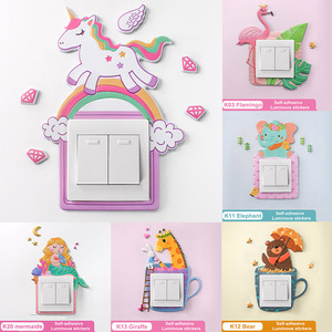 1Pcs PU Glow Wall Sticker Cute Cartoon Animal Home Decal Switch Sticker Kids Rooms Decor Removable Luminous Kids gife