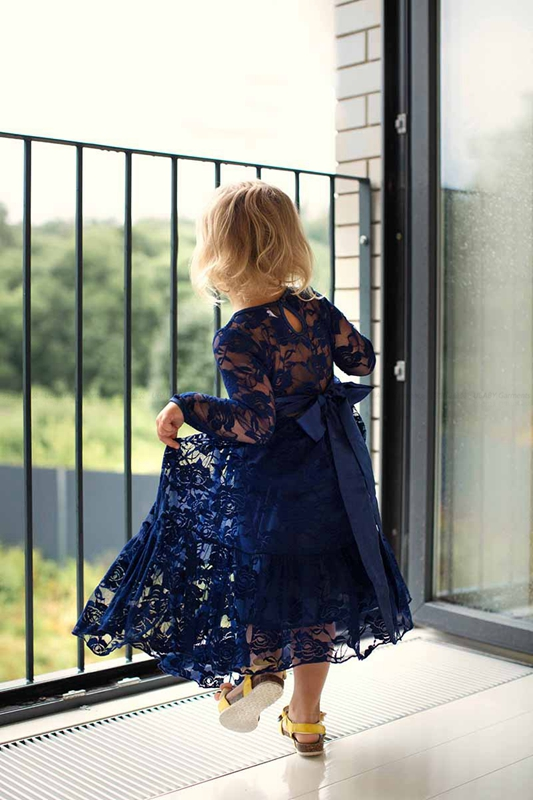 Girl Lace Long Dress Age 2-12 Baby Kids Princess Dresses Big Bow Long Sleeved Wedding Party Dress Noble Navy Children Clothes girl lace long dress with sweet flower for age 3 7 baby kids princess wedding prom party white cream big bow long sleeves dress