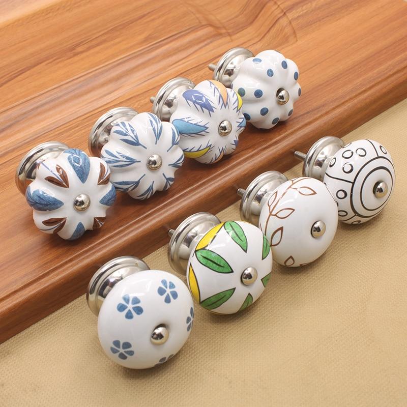 1pc Ceramic Knobs Kitchen Cabinet Handles Dresser Knob Drawer Pulls / Retro Cupboard Decorative Hardware