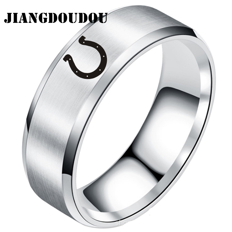 Indianapolis Colts Logo silver Ring Titanium Steel fan gift 8mm US size 6-15
