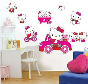 New Free Shipping Popular Cute Pink Hello Kitty Wall Sticker Wall