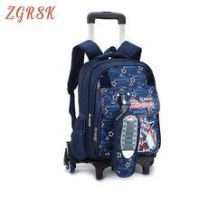 Kids Nylon Trolley Backpack Students Boys Cartoon Roller Children Travel Rolling Bag Girls Back Pack  With 2/6 Wheels Bookbag цена