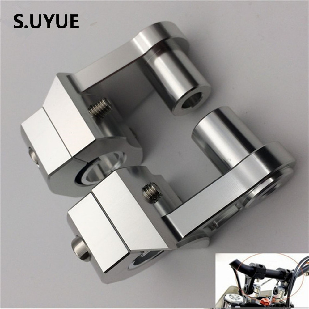 Universal Anodized 2 Inch Pivoting Motorcycle Handlebar Riser For 22mm or 28mm Bars Clamp for suzuki yamaha kawasaki bmw honda silver universal anodized 2 inch pivoting motorcycle handlebar riser for 7 8 28mm bars clamp page 3