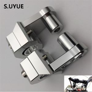 Image 1 - Universal Anodized 2 Inch Pivoting Motorcycle Handlebar Riser For 22mm or 28mm  Bars Clamp for suzuki yamaha kawasaki bmw honda